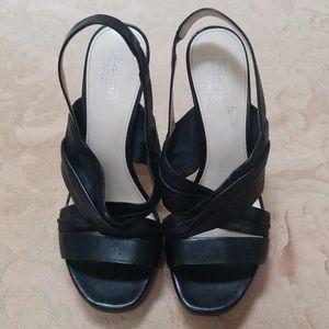 Black Leather Coach Platform Sandals Size 8B